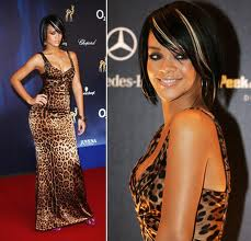 Rihanna in leopard pattern dress