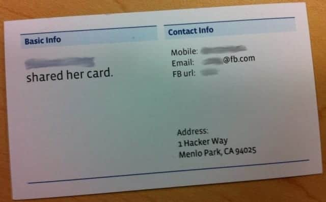 Adress card of facebook employee with address: Hacker Way, menlo park, CA