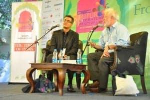 Michael Ondaatie in conversation with Amitava Kumar at the DSC Jaipur Literature Festival