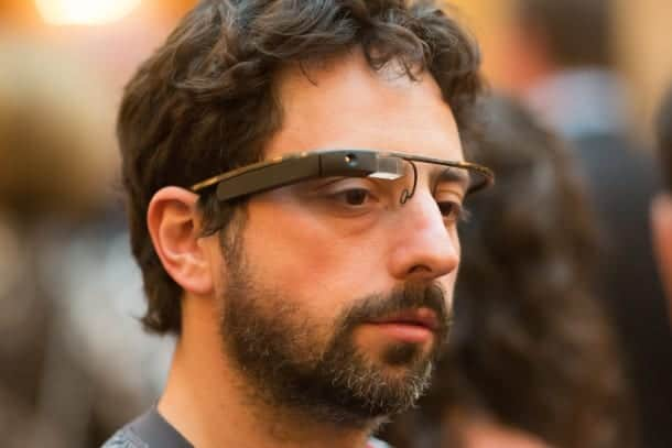 Sergey brin donning the google glasses