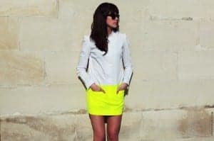 a fitted neon skirt
