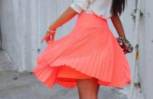 A beautiful pleated skirt in neon