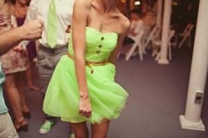 A neon dress in light green