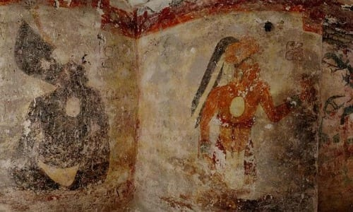A painted wall of a Mayan site