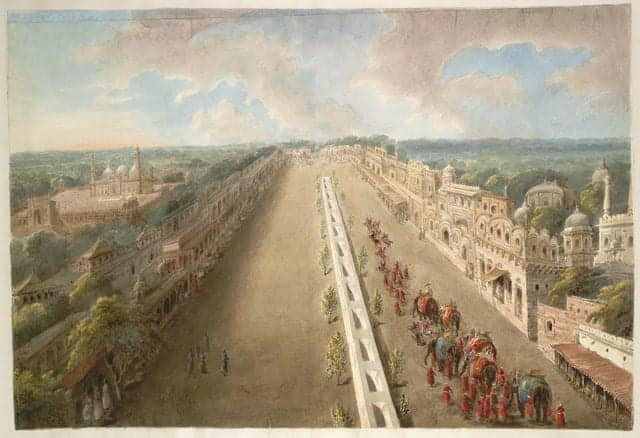 *The Chandni Chowk from the top of the Lahore Gate of the Fort, the canal depicted running down the middle, by Sita Ram, 1814-15