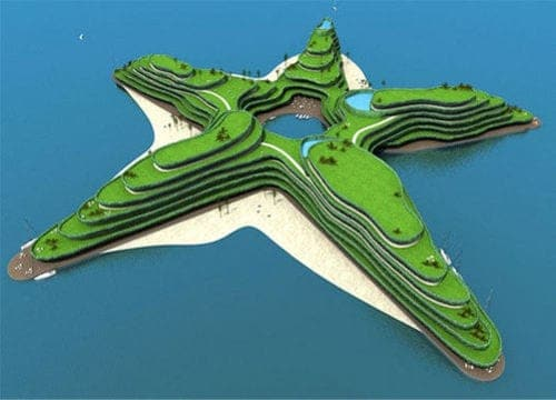 The Greenstar, a star shaped floating convention hotel.