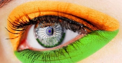 An eye with Indian Tricolor paint